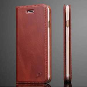 Fashion Oil Wax Genuine Leather Stand Wallet Flip Case for iPhone 7 4.7 inch - Brown