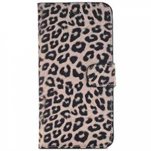 Leopard Skin Leather Folio Stand Wallet Case for iPhone 7 Plus 5.5 inch - Dark Brown