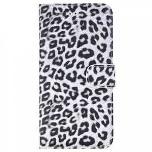Leopard Skin Leather Folio Stand Wallet Case for iPhone 7 Plus 5.5 inch - White