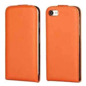 Luxury Genuine Real Leather Vertical Top Flip Case Cover for iPhone 7 4.7 inch - Orange