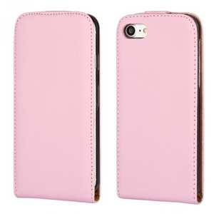 Luxury Genuine Real Leather Vertical Top Flip Case Cover for iPhone 7 4.7 inch - Pink
