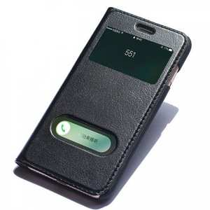 Luxury Real Genuine Leather Double Window Flip Case for iPhone 7 4.7 Inch - Black