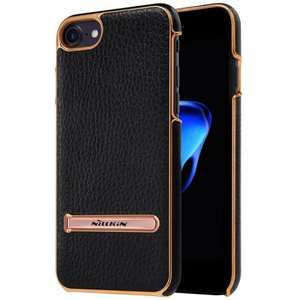 NILLKIN Leather Skin PC Kickstand Shell Mobile Phone Case for iPhone 7 Plus 5.5 inch - Black