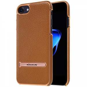 NILLKIN Leather Skin PC Kickstand Shell Mobile Phone Case for iPhone 7 Plus 5.5 inch - Brown