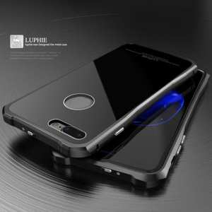 Original Luphie Tempered Glass Back Cover Metal Bumper Case for iPhone 7 4.7inch - Black