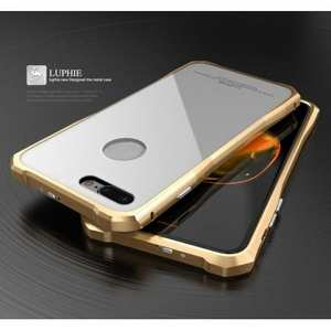 Original Luphie Tempered Glass Back Cover Metal Bumper Case for iPhone 7 4.7inch - Gold&White