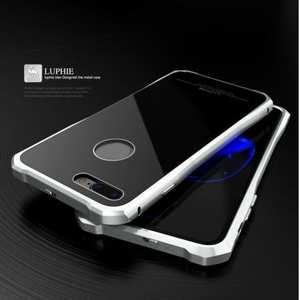 Original Luphie Tempered Glass Back Cover Metal Bumper Case for iPhone 7 4.7inch - Silver&Black