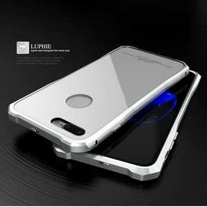 Original Luphie Tempered Glass Back Cover Metal Bumper Case for iPhone 7 4.7inch - Silver&White