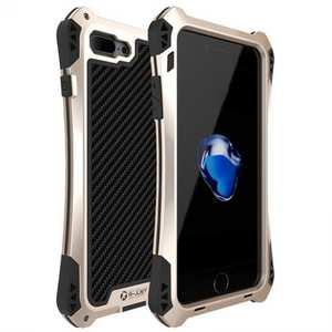 R-JUST Gorilla Glass Shockproof Metal Case Carbon Fiber Cover for iPhone 7 4.7inch - Gold&Black