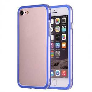 Shockproof Soft TPU Bumper Frame Protective Case For iPhone 7 Plus 5.5inch - Clear&Blue