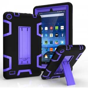 "ShockProof Armor Kickstand Protective Case For Amazon Fire 7"" Tablet (2015) - Black&Purple"