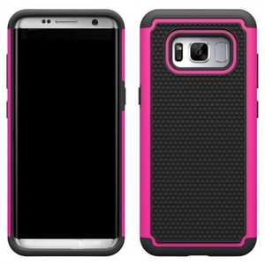 Hybrid Armor Shockproof Dual Layer Defender Protective Cover Case For Samsung Galaxy S8 - Hot pink