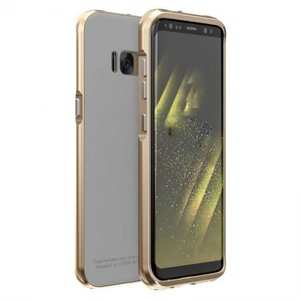 Aluminium Metal Bumper+Tempered Glass Cover Case for Samsung Galaxy S8 - Gold&White