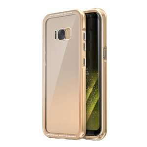 Aluminum Bumper + Transparent Tempered Glass Back Cover Case for Samsung Galaxy S8 - Champagne Gold