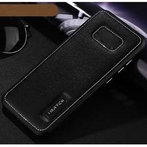 Aluminum Metal Bumper Frame Case with Genuine Leather Back Cover kickstand for Samsung Galaxy S8+ Plus - Black