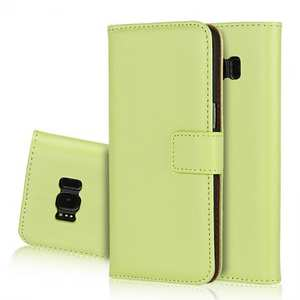 Genuine Leather Wallet Flip Cover Case Card Holder for Samsung Galaxy S8 - Green