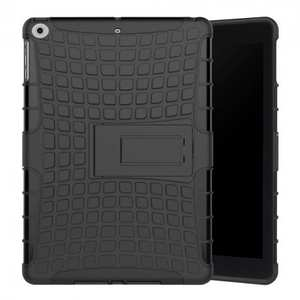Rugged Armor Shockproof Dual Layer Protective Kickstand Case For Apple iPad 9.7 (2017) - Black