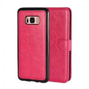 Magnetic Removable Detachable Leather Wallet Flip Case Cover For Samsung Galaxy S8 - Rose