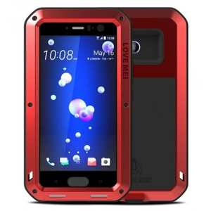 Powerful Gorilla Glass Protective Case Aluminum Metal Cover For HTC U11 - Red