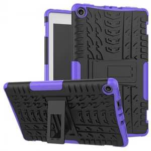 Rugged Armor Hybrid Kickstand Defender Protective Case for Amazon Kindle Fire HD 8 (2017) - Purple