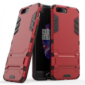 Slim Rugged Armor Hybrid Defender Protective Case with Kickstand for OnePlus 5 - Red