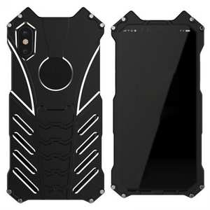 R-Just Aluminum Metal Shockproof Case Cover for iPhone XS / X - Black
