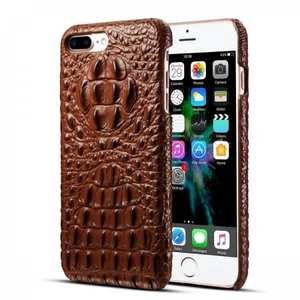 Crocodile Head Pattern Genuine Cowhide Leather Back Cover Case for iPhone 8 Plus 5.5 inch - Brown
