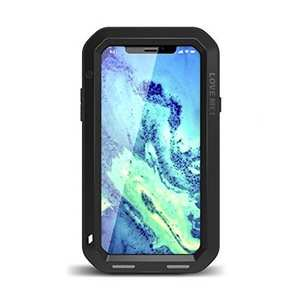 Aluminum Metal Shockproof Waterproof Glass Case Cover for iPhone XS / X - Black
