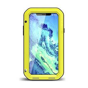 Aluminum Metal Shockproof Waterproof Glass Case Cover for iPhone XS / X - Yellow