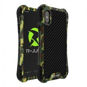 Shockproof DropProof DirtProof Carbon Fiber Metal Gorilla Glass Armor Case for iPhone XS / X - Camouflage