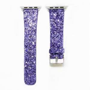 Bling Replacement Band Shiny Glitter Leather Wristband Strap For Apple Watch Series 4 3 2 1 - Purple