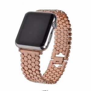 Fish Scale Stainless Steel Replacement Band Strap For Apple Watch Series 1/2/3 38MM 42MM - Rose Gold