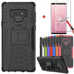 For Samsung Galaxy Note 9 Shockproof Hybrid TPU Armor Kickstand Case + Tempered Glass Screen