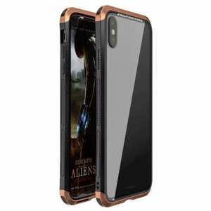 For iPhone XS Hybrid Aluminum + PC Bumper Transparent Tempered Glass Case - Black&Brown
