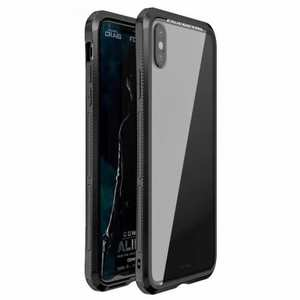 For iPhone XS Hybrid Aluminum + PC Bumper Transparent Tempered Glass Case - Black