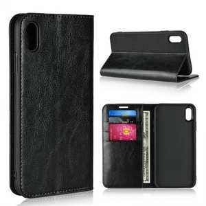 For iPhone XS Max Leather Wallet Stand Case Card Slot Shockproof Flip Cover - Black