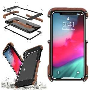 Aluminum Wood Metal Case Shockproof Dropproof Bumper Frame for iPhone XS
