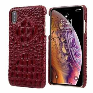 For iPhone XS Max Crocodile Head Pattern Genuine Leather Back Case Cover - Red