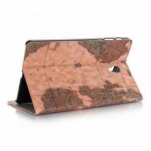 For Samsung Galaxy Tab A 10.5 T590/T595 World Map Stand Flip Leather Case - Light Brown