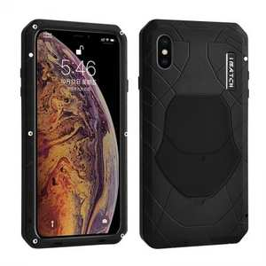 For iPhone XS Max Luxury Waterproof Shockproof Aluminum Metal Tempered Glass Case - Black