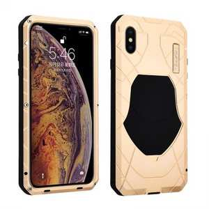 For iPhone XS Max Luxury Waterproof Shockproof Aluminum Metal Tempered Glass Case - Gold
