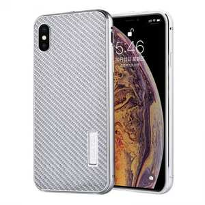 Aluminium Metal Carbon Fiber Case For iPhone XS Max - Silver