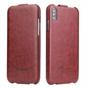For iPhone XS Max Vertical Flip Leather Case - Brown
