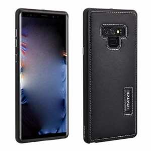 For Samsung Galaxy Note 9 Deluxe Aluminum Metal Genuine Leather Protective Back Case - Black
