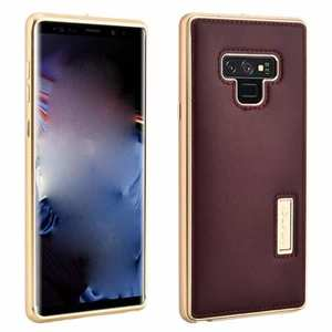 For Samsung Galaxy Note 9 Deluxe Aluminum Metal Genuine Leather Protective Back Case - Gold&Wine Red