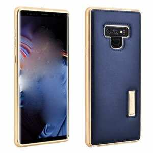 For Samsung Galaxy Note 9 Deluxe Aluminum Metal Genuine Leather Protective Back Case - Gold&Dark Blue