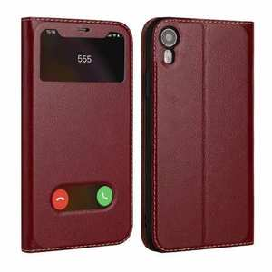 Luxury Double Window Genuine Leather Flip Case for iPhone XR - Wine Red