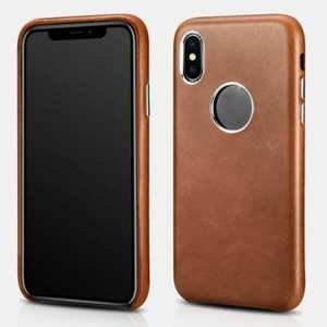 ICARER Retro Genuine Leather Back Case Cover for iPhone XS Max XS X