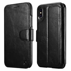 For iPhone XS Max ICARER Detachable 2 in 1 Wallet Folio Genuine Leather Case - Black