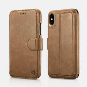 For iPhone XS Max ICARER Detachable 2 in 1 Wallet Folio Genuine Leather Case - Brown